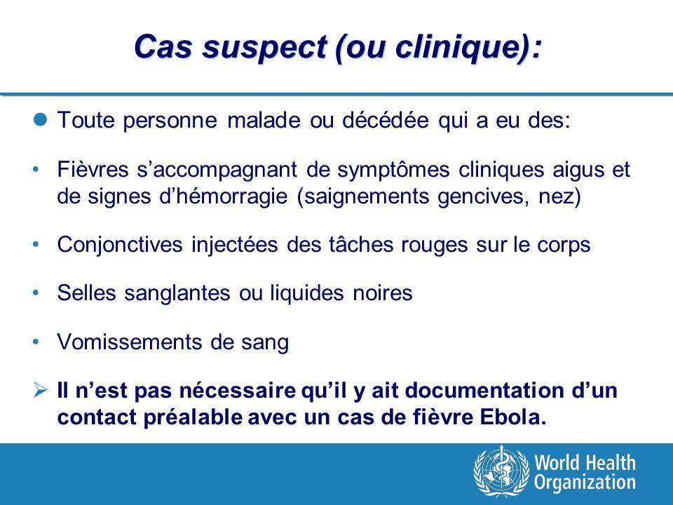 Cas suspect (ou clinique): Toute personne malade ou décédée qui a eu des: Fièvres saccompagnant de symptômes cliniques aigus et de signes dhémorragie