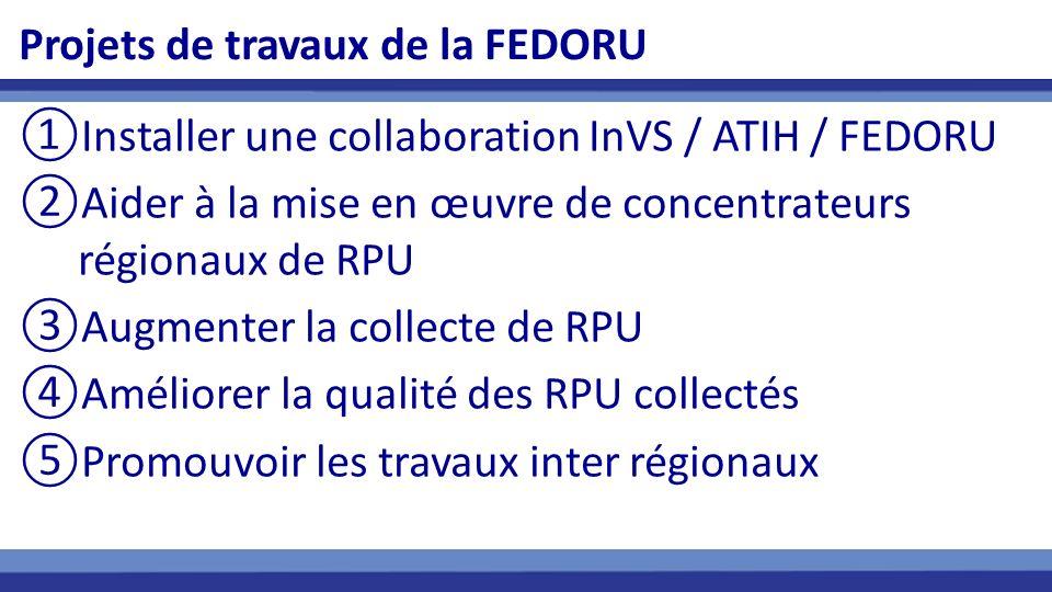Projets de travaux de la FEDORU Installer une collaboration InVS / ATIH / FEDORU Aider à la mise en œuvre de concentrateurs régionaux de RPU Augmenter la collecte de RPU Améliorer la qualité des RPU collectés Promouvoir les travaux inter régionaux