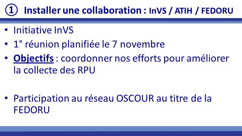 Installer une collaboration : InVS / ATIH / FEDORU Initiative InVS 1° réunion planifiée le 7 novembre Objectifs : coordonner nos efforts pour améliore