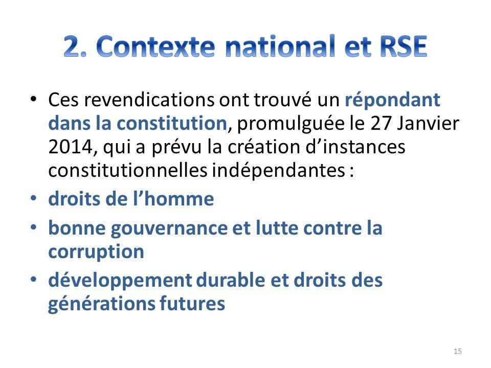 Ces revendications ont trouvé un répondant dans la constitution, promulguée le 27 Janvier 2014, qui a prévu la création dinstances constitutionnelles