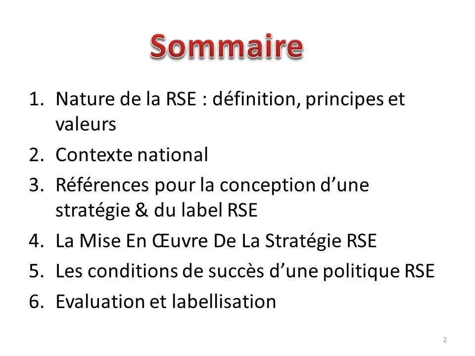 1.Nature de la RSE : définition, principes et valeurs 2.Contexte national 3.Références pour la conception dune stratégie & du label RSE 4.La Mise En Œ