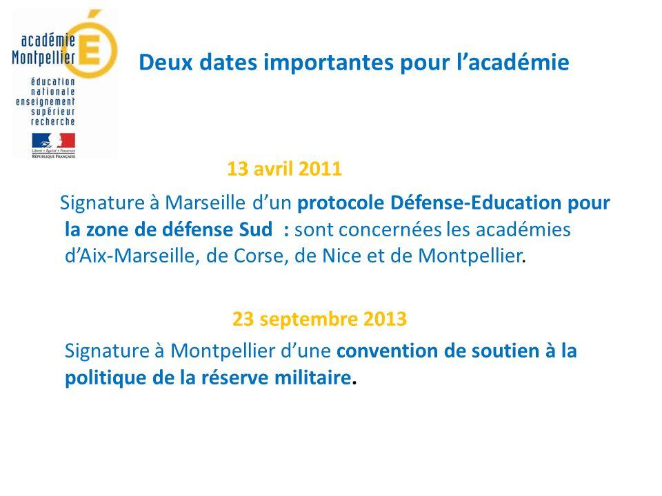 Deux dates importantes pour lacadémie 13 avril 2011 Signature à Marseille dun protocole Défense-Education pour la zone de défense Sud : sont concernées les académies dAix-Marseille, de Corse, de Nice et de Montpellier.