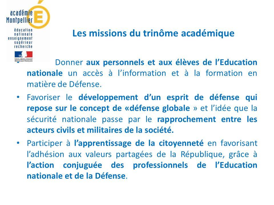 Donner aux personnels et aux élèves de lEducation nationale un accès à linformation et à la formation en matière de Défense.