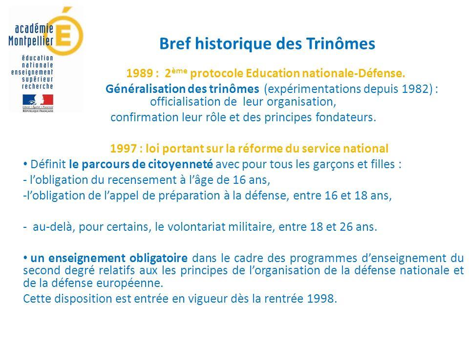 1989 : 2 ème protocole Education nationale-Défense.