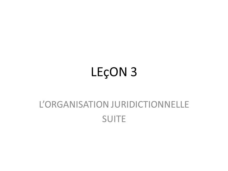 LEçON 3 LORGANISATION JURIDICTIONNELLE SUITE