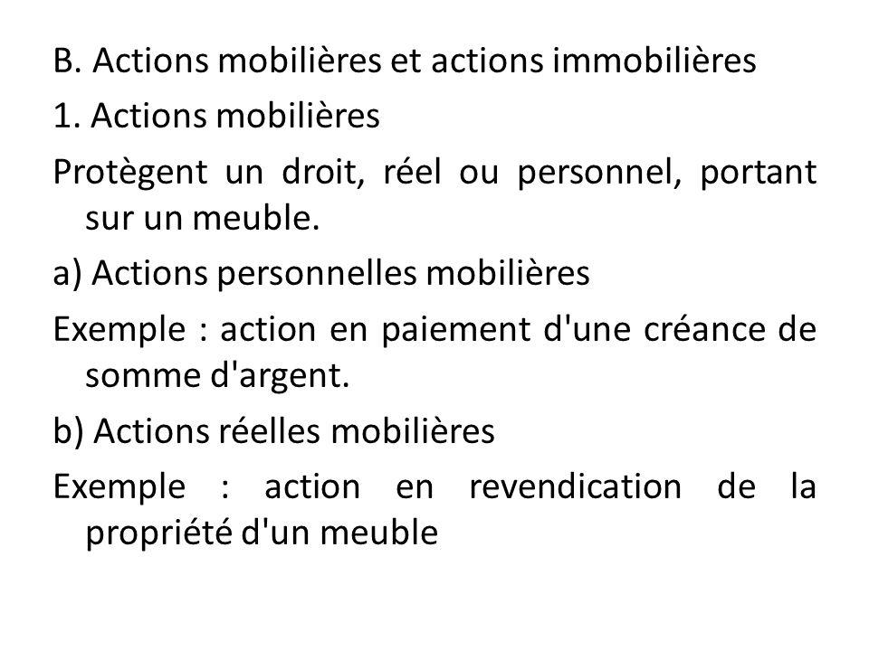 B. Actions mobilières et actions immobilières 1. Actions mobilières Protègent un droit, réel ou personnel, portant sur un meuble. a) Actions personnel