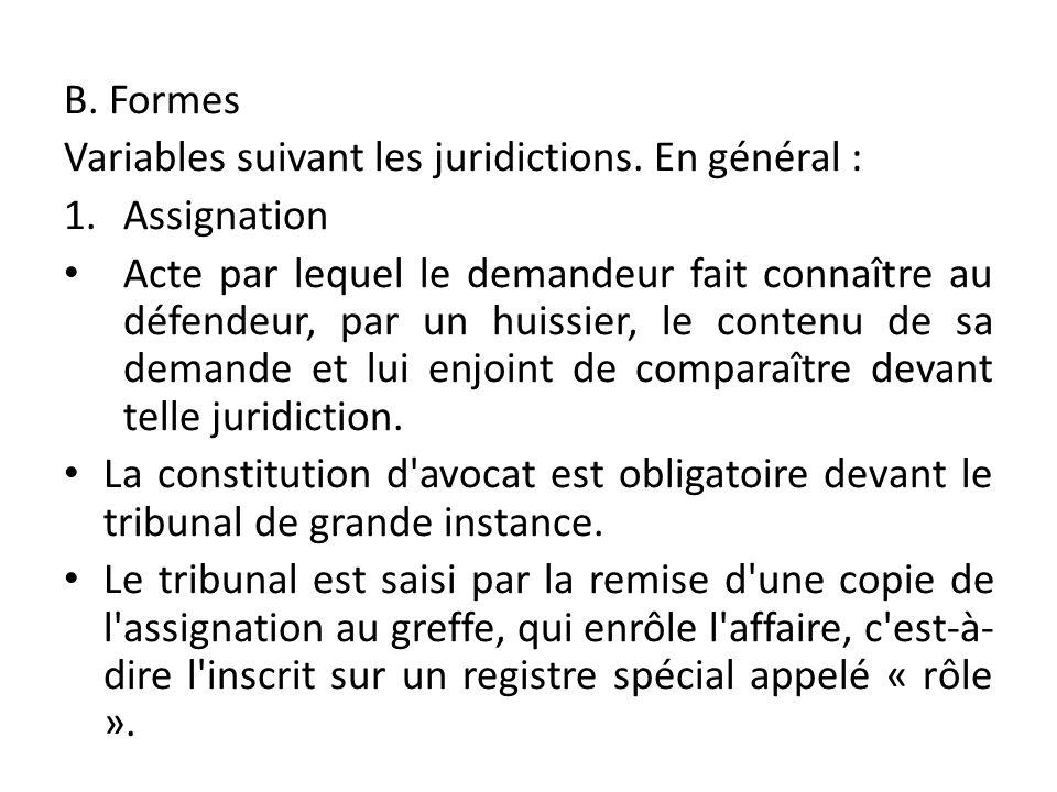 B. Formes Variables suivant les juridictions. En général : 1.Assignation Acte par lequel le demandeur fait connaître au défendeur, par un huissier, le