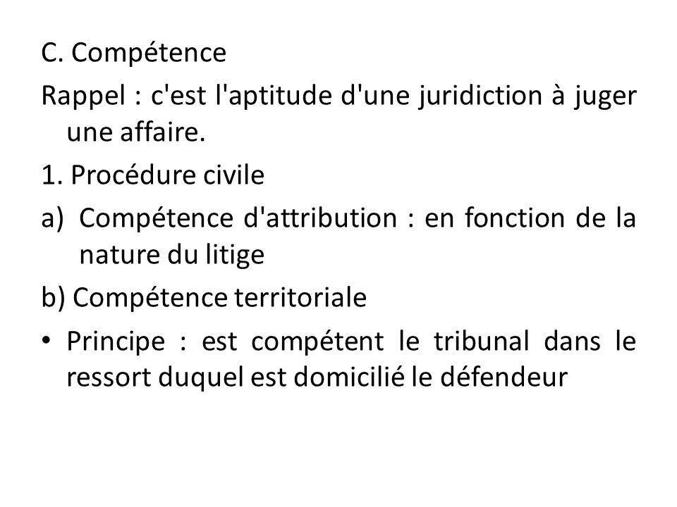 C. Compétence Rappel : c'est l'aptitude d'une juridiction à juger une affaire. 1. Procédure civile a)Compétence d'attribution : en fonction de la natu