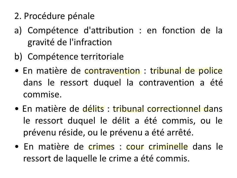 2. Procédure pénale a)Compétence d'attribution : en fonction de la gravité de l'infraction b)Compétence territoriale En matière de contravention : tri