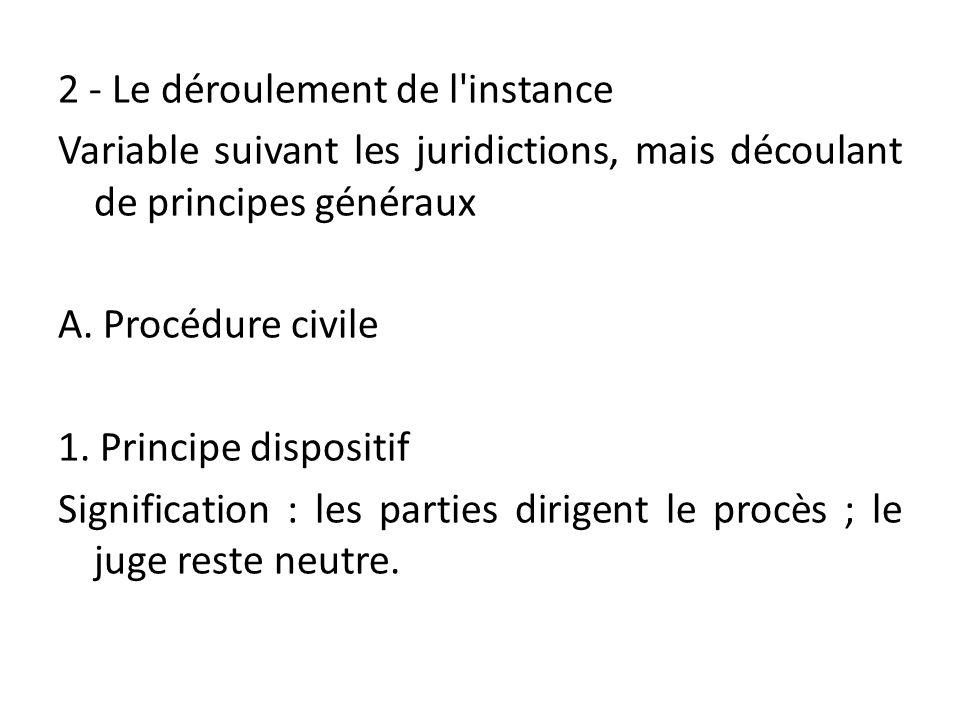 2 - Le déroulement de l'instance Variable suivant les juridictions, mais découlant de principes généraux A. Procédure civile 1. Principe dispositif Si