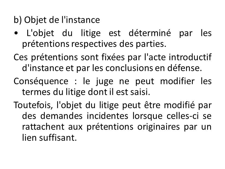 b) Objet de l'instance L'objet du litige est déterminé par les prétentions respectives des parties. Ces prétentions sont fixées par l'acte introductif