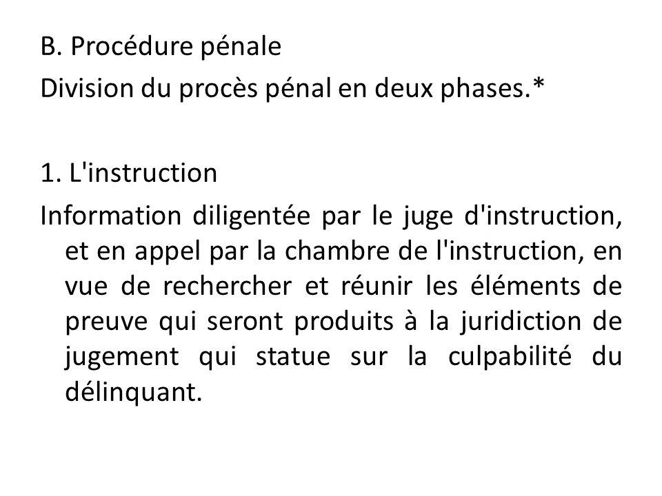 B. Procédure pénale Division du procès pénal en deux phases.* 1. L'instruction Information diligentée par le juge d'instruction, et en appel par la ch