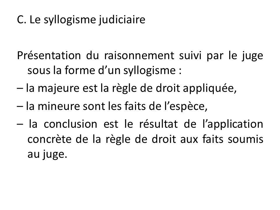 C. Le syllogisme judiciaire Présentation du raisonnement suivi par le juge sous la forme dun syllogisme : – la majeure est la règle de droit appliquée