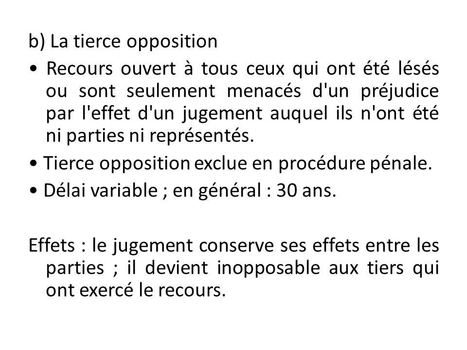 b) La tierce opposition Recours ouvert à tous ceux qui ont été lésés ou sont seulement menacés d'un préjudice par l'effet d'un jugement auquel ils n'o