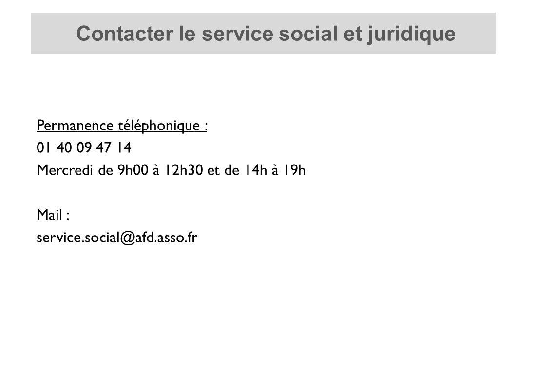 Permanence téléphonique : 01 40 09 47 14 Mercredi de 9h00 à 12h30 et de 14h à 19h Mail : service.social@afd.asso.fr Contacter le service social et juridique