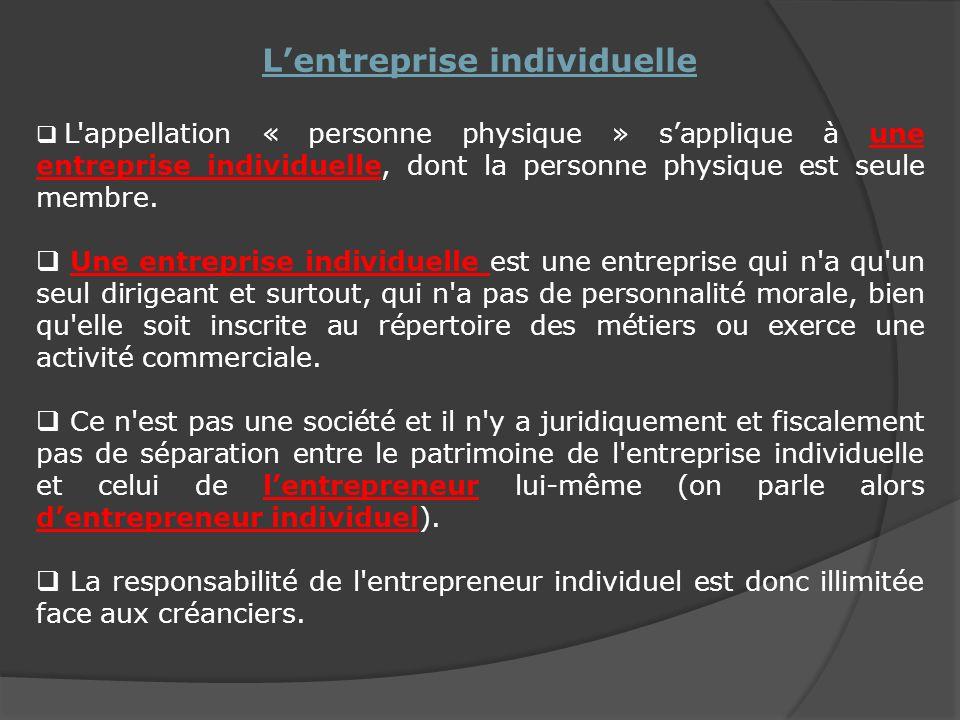 Lentreprise individuelle L appellation « personne physique » sapplique à une entreprise individuelle, dont la personne physique est seule membre.