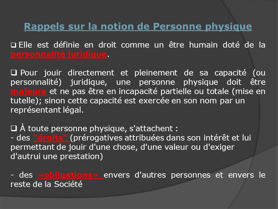 Rappels sur la notion de Personne physique Elle est définie en droit comme un être humain doté de la personnalité juridique.