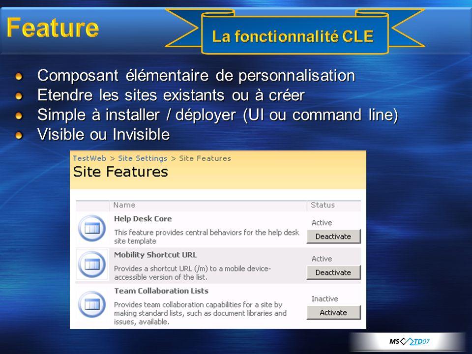 Composant élémentaire de personnalisation Etendre les sites existants ou à créer Simple à installer / déployer (UI ou command line) Visible ou Invisib