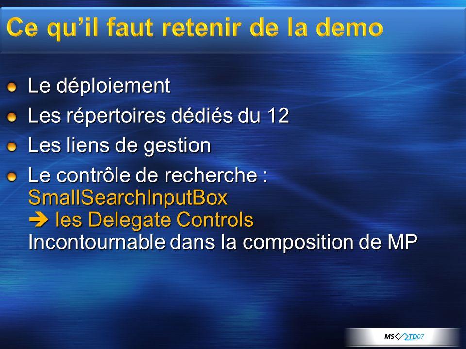 Le déploiement Les répertoires dédiés du 12 Les liens de gestion Le contrôle de recherche : SmallSearchInputBox les Delegate Controls Incontournable d