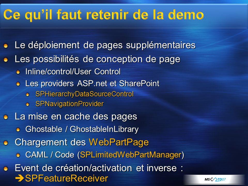 Le déploiement de pages supplémentaires Les possibilités de conception de page Inline/control/User Control Les providers ASP.net et SharePoint SPHiera