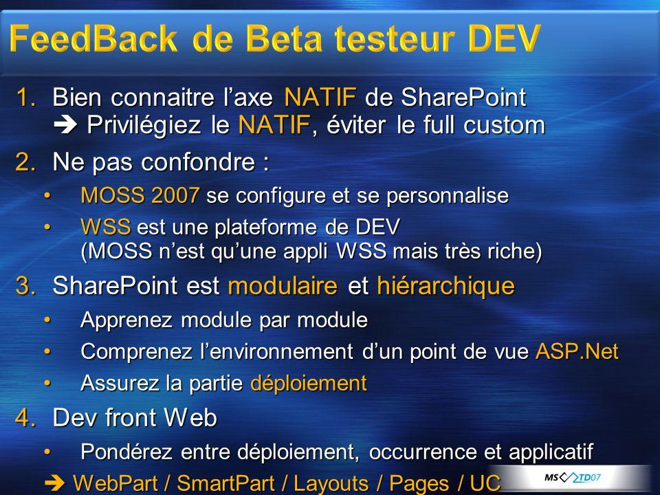 1.Bien connaitre laxe NATIF de SharePoint Privilégiez le NATIF, éviter le full custom 2.Ne pas confondre : MOSS 2007 se configure et se personnaliseMO