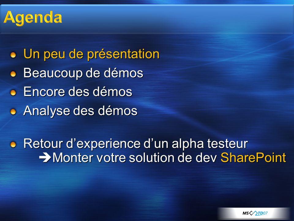 Un peu de présentation Beaucoup de démos Encore des démos Analyse des démos Retour dexperience dun alpha testeur Monter votre solution de dev SharePoi