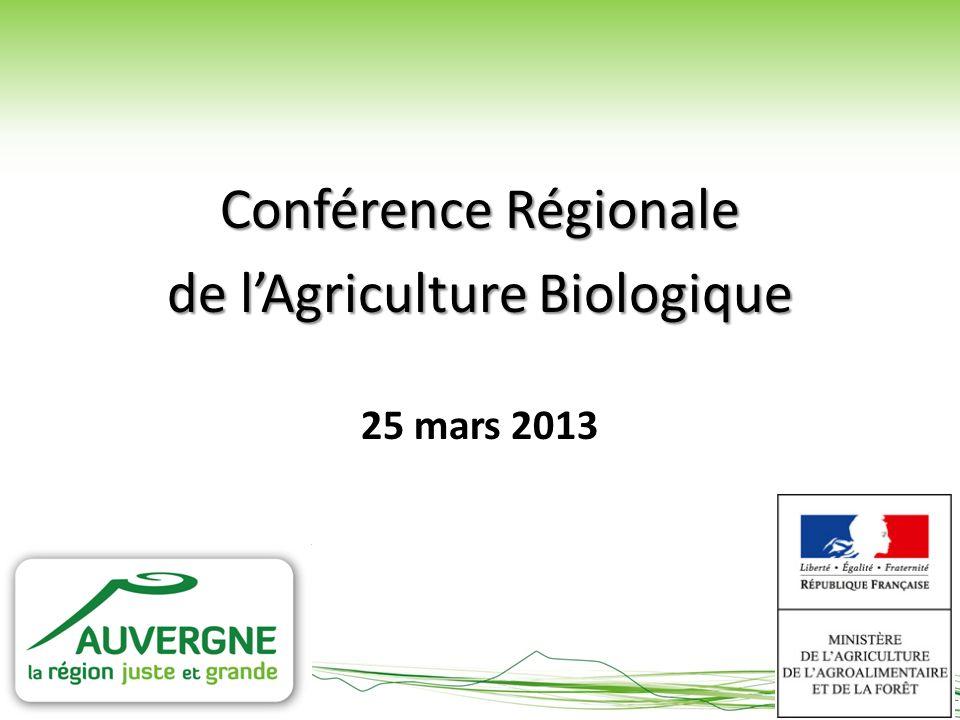 Conférence Régionale de lAgriculture Biologique 25 mars 2013