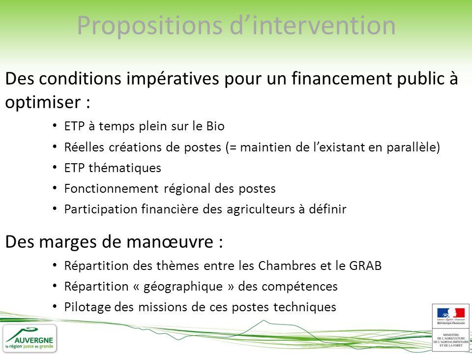 Propositions dintervention Des conditions impératives pour un financement public à optimiser : ETP à temps plein sur le Bio Réelles créations de poste