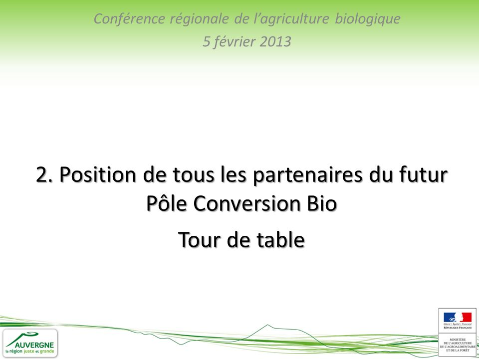 Conférence régionale de lagriculture biologique 5 février 2013 2.