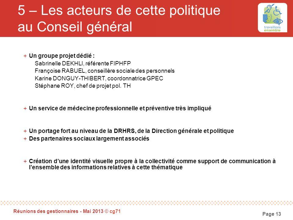 Page 13 Réunions des gestionnaires - Mai 2013 © cg71 5 – Les acteurs de cette politique au Conseil général +Un groupe projet dédié : Sabrinelle DEKHLI