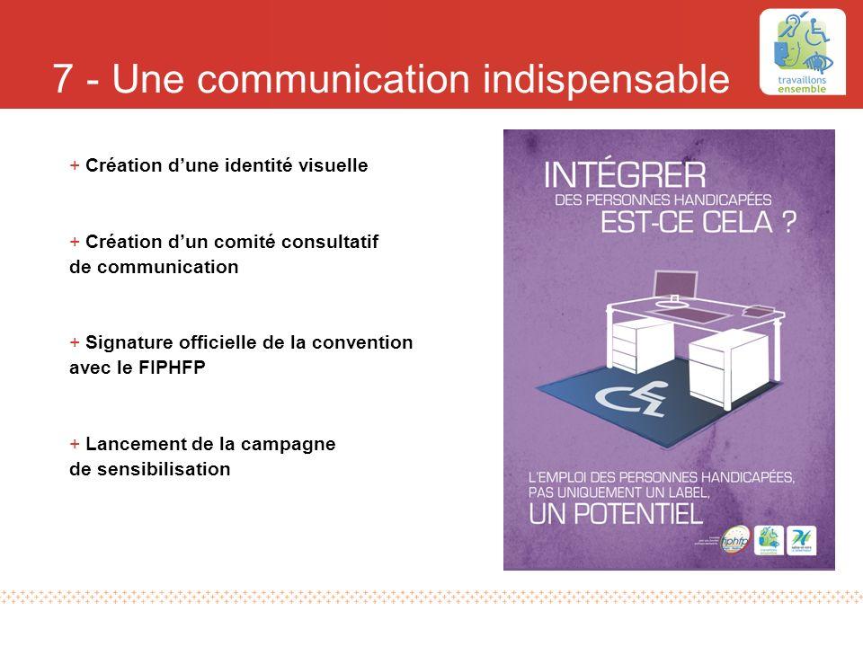 7 - Une communication indispensable +Création dune identité visuelle +Création dun comité consultatif de communication +Signature officielle de la con