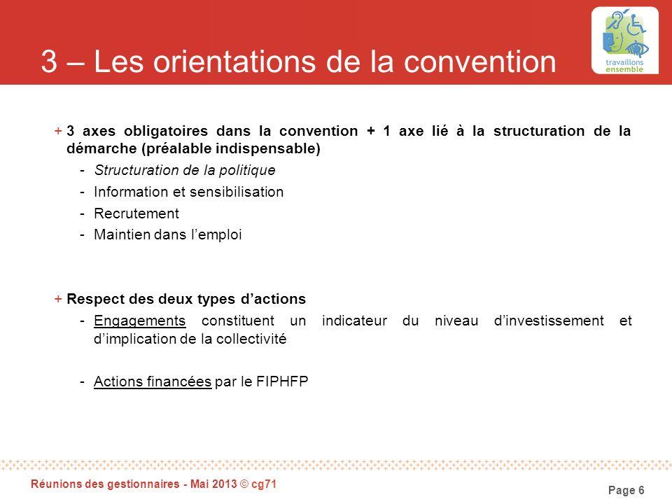 Page 6 Réunions des gestionnaires - Mai 2013 © cg71 3 – Les orientations de la convention +3 axes obligatoires dans la convention + 1 axe lié à la str