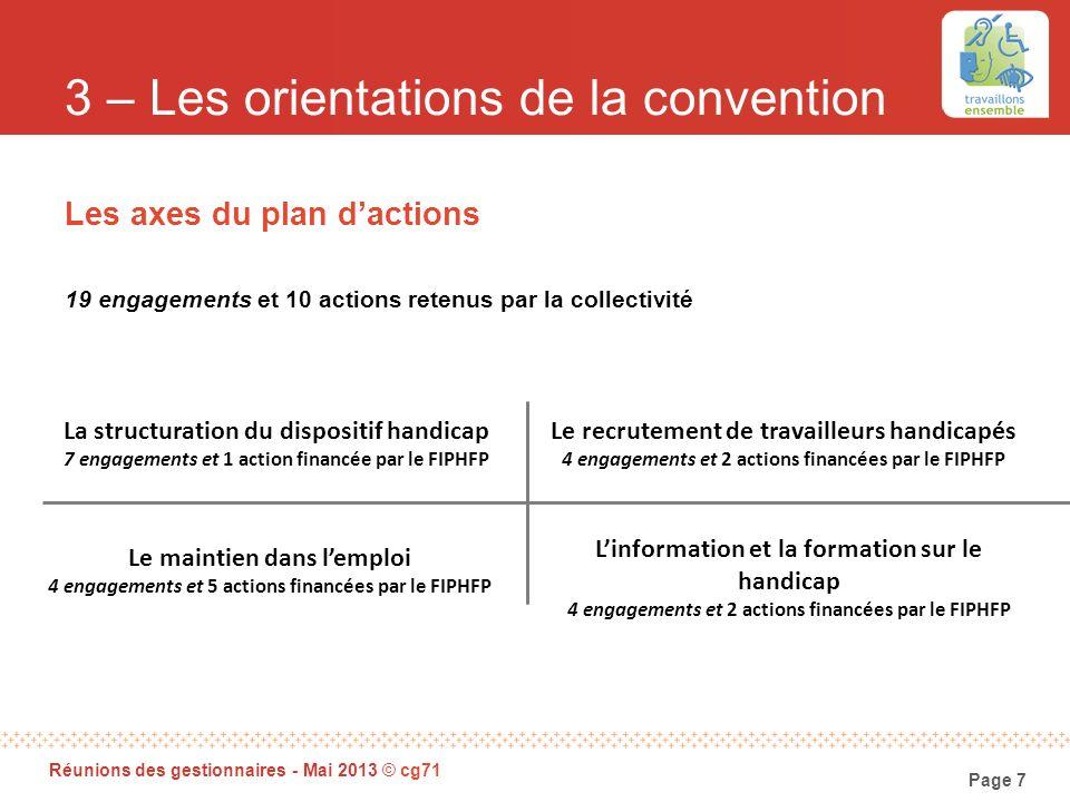 Page 7 Réunions des gestionnaires - Mai 2013 © cg71 3 – Les orientations de la convention Les axes du plan dactions 19 engagements et 10 actions reten