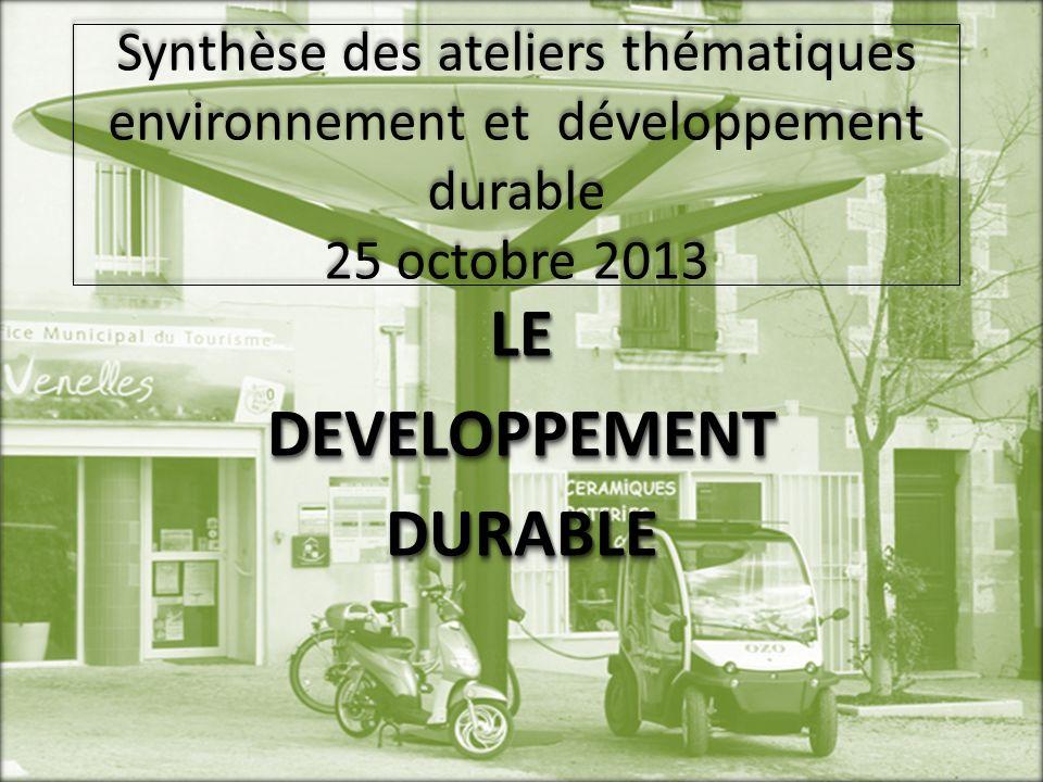Synthèse des ateliers thématiques environnement et développement durable 25 octobre 2013 LEDEVELOPPEMENTDURABLELEDEVELOPPEMENTDURABLE