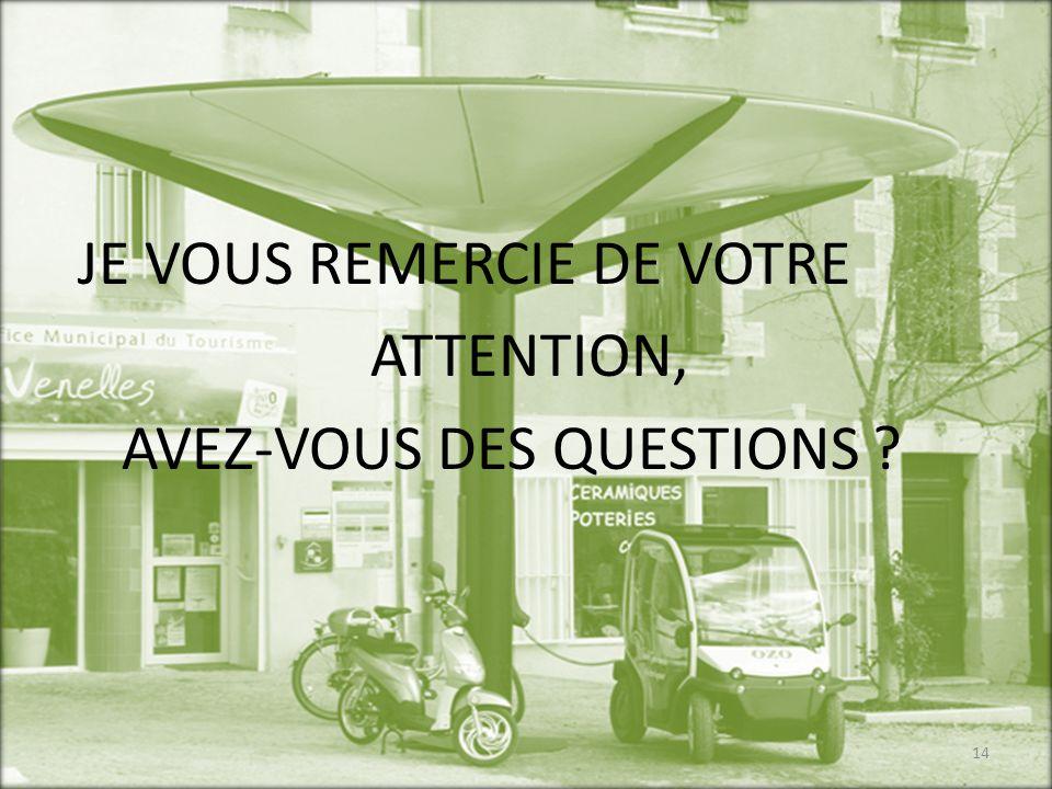 JE VOUS REMERCIE DE VOTRE ATTENTION, AVEZ-VOUS DES QUESTIONS ? 14