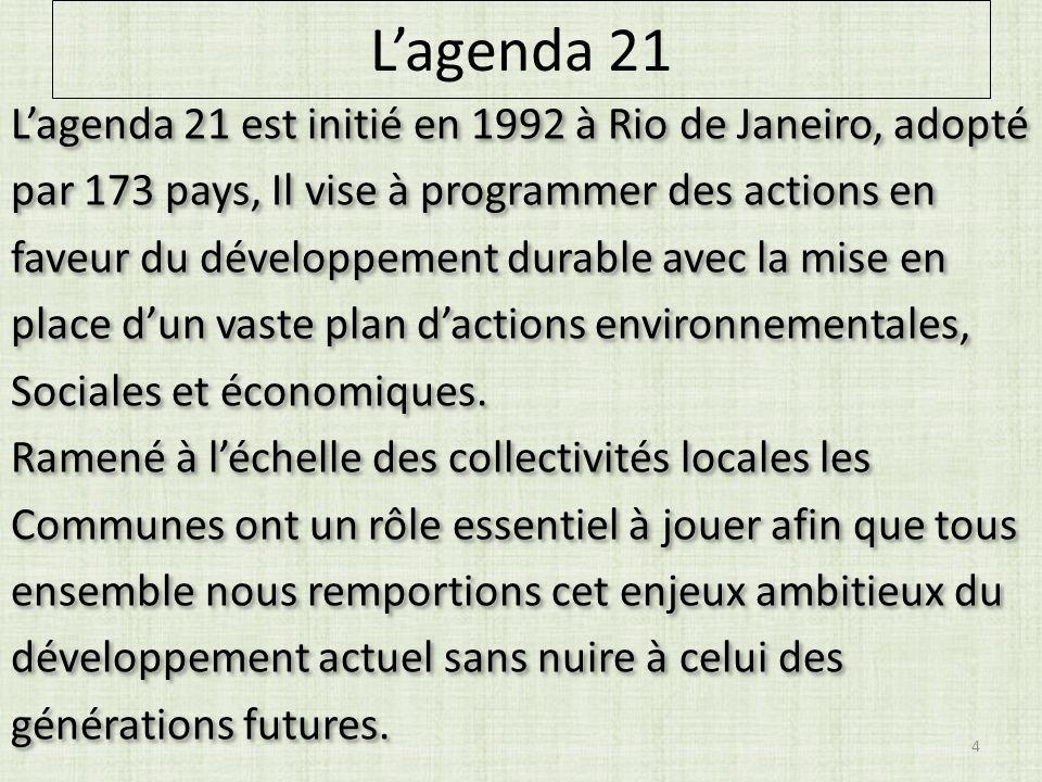 Lagenda 21 Lagenda 21 est initié en 1992 à Rio de Janeiro, adopté par 173 pays, Il vise à programmer des actions en faveur du développement durable avec la mise en place dun vaste plan dactions environnementales, Sociales et économiques.