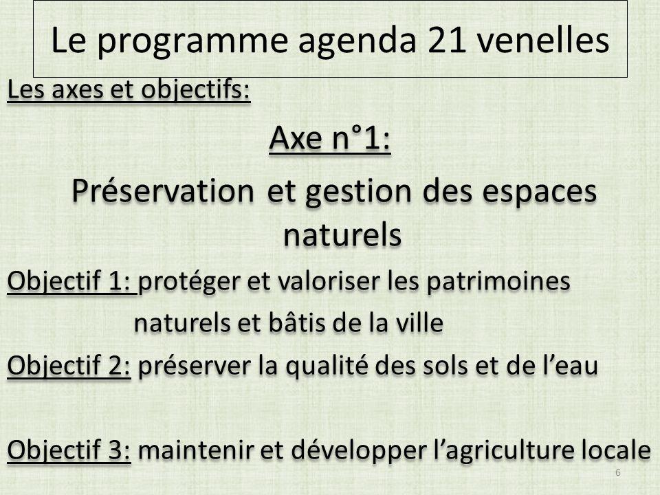 Le programme agenda 21 venelles Les axes et objectifs: Axe n°1: Préservation et gestion des espaces naturels Objectif 1: protéger et valoriser les pat