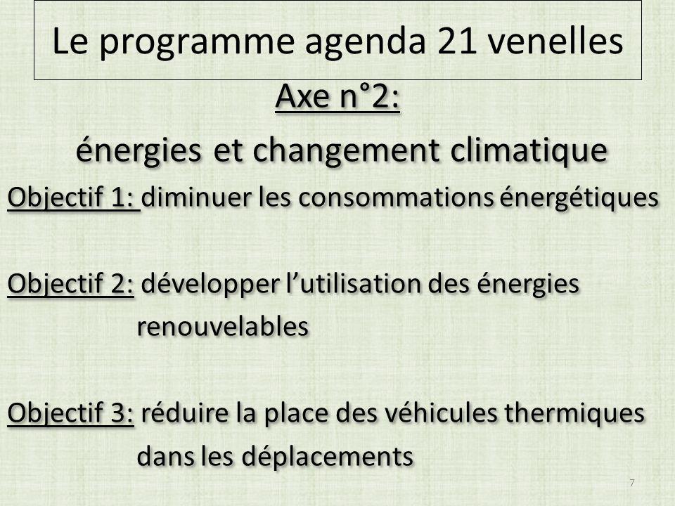 Axe n°2: énergies et changement climatique Objectif 1: diminuer les consommations énergétiques Objectif 2: développer lutilisation des énergies renouvelables Objectif 3: réduire la place des véhicules thermiques dans les déplacements Axe n°2: énergies et changement climatique Objectif 1: diminuer les consommations énergétiques Objectif 2: développer lutilisation des énergies renouvelables Objectif 3: réduire la place des véhicules thermiques dans les déplacements 7 Le programme agenda 21 venelles