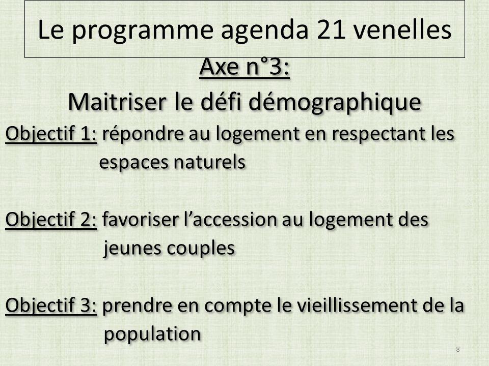 Axe n°3: Maitriser le défi démographique Objectif 1: répondre au logement en respectant les espaces naturels Objectif 2: favoriser laccession au logem
