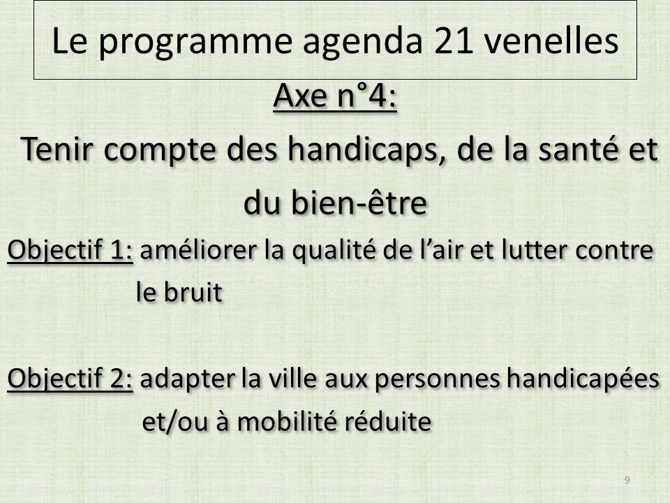 Axe n°4: Tenir compte des handicaps, de la santé et du bien-être Objectif 1: améliorer la qualité de lair et lutter contre le bruit Objectif 2: adapter la ville aux personnes handicapées et/ou à mobilité réduite Axe n°4: Tenir compte des handicaps, de la santé et du bien-être Objectif 1: améliorer la qualité de lair et lutter contre le bruit Objectif 2: adapter la ville aux personnes handicapées et/ou à mobilité réduite 9 Le programme agenda 21 venelles