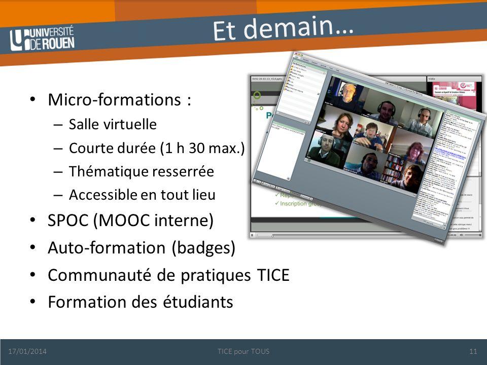 Et demain… Micro-formations : – Salle virtuelle – Courte durée (1 h 30 max.) – Thématique resserrée – Accessible en tout lieu SPOC (MOOC interne) Auto-formation (badges) Communauté de pratiques TICE Formation des étudiants 17/01/2014TICE pour TOUS11