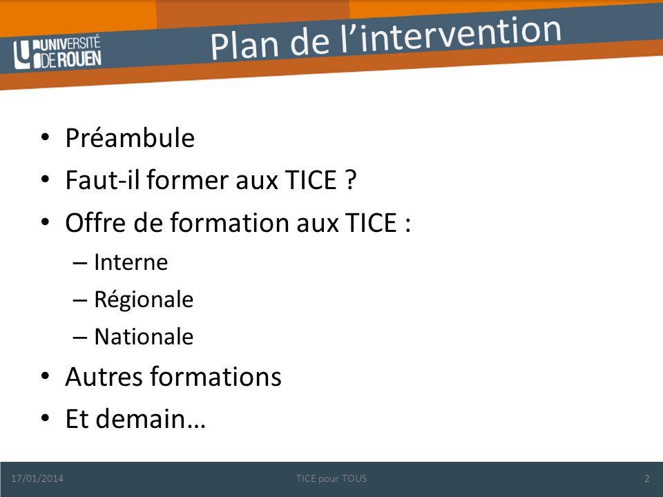 Plan de lintervention Préambule Faut-il former aux TICE .