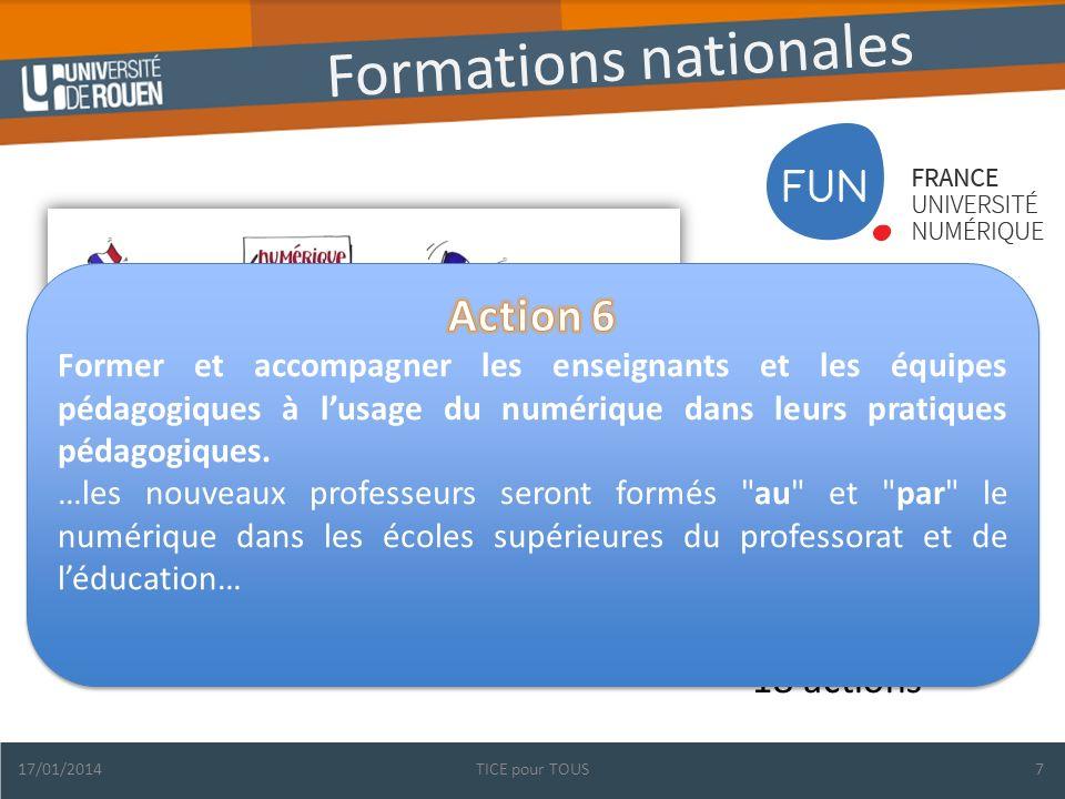 Formations nationales Une priorité : le numérique Un contexte porteur Des initiatives nombreuses à structurer 18 actions 17/01/2014TICE pour TOUS7