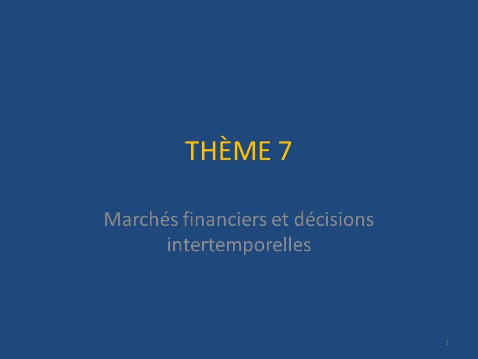 THÈME 7 Marchés financiers et décisions intertemporelles 1