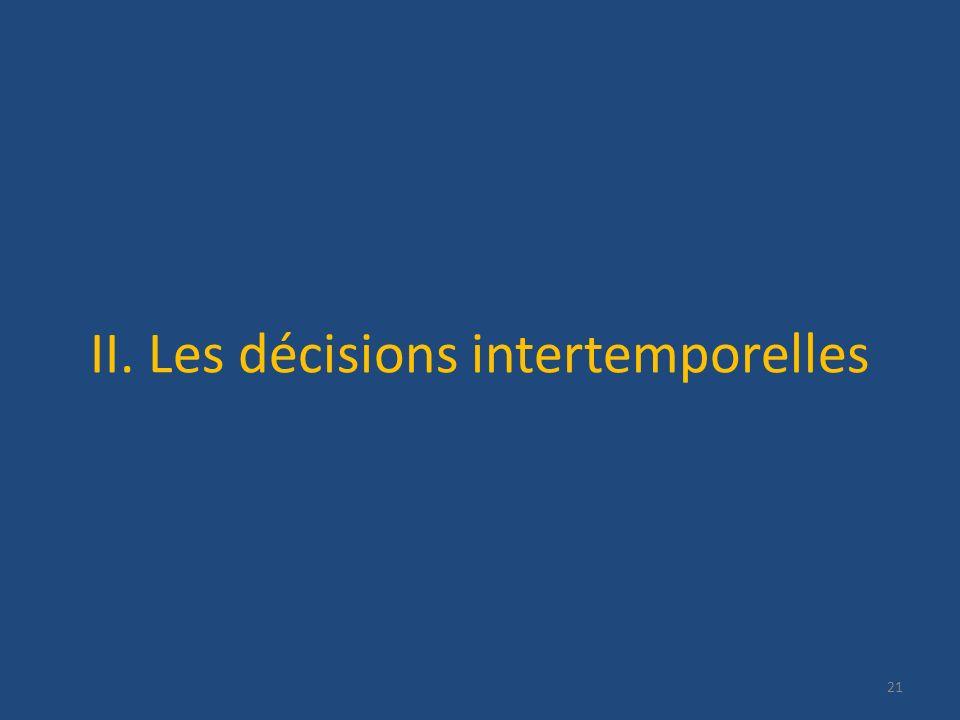 II. Les décisions intertemporelles 21