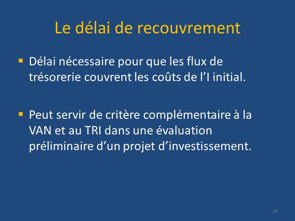 Le délai de recouvrement Délai nécessaire pour que les flux de trésorerie couvrent les coûts de lI initial. Peut servir de critère complémentaire à la