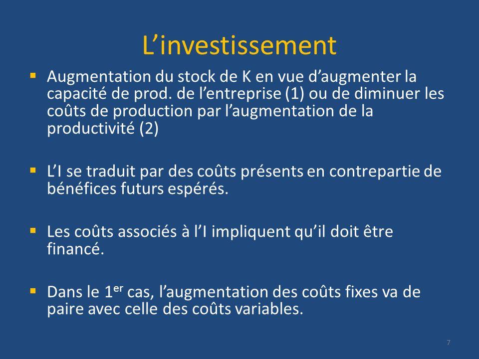 Linvestissement Augmentation du stock de K en vue daugmenter la capacité de prod. de lentreprise (1) ou de diminuer les coûts de production par laugme