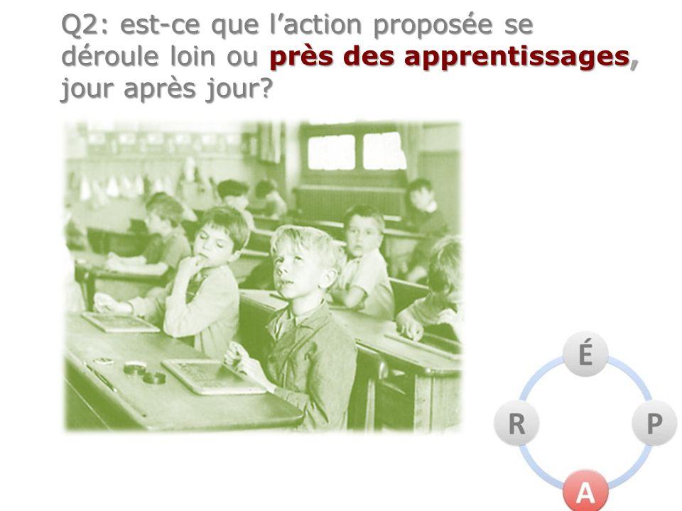 Q2: est-ce que laction proposée se déroule loin ou près des apprentissages, jour après jour