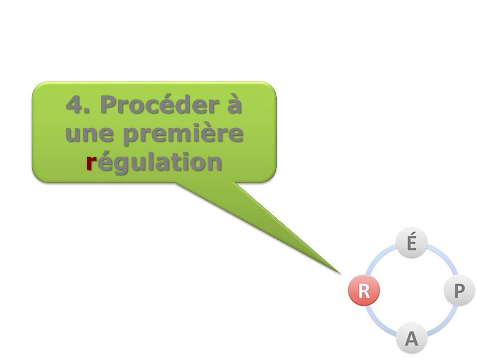 4. Procéder à une première régulation