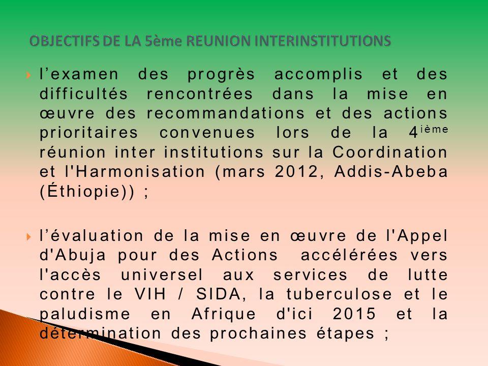lexamen des progrès accomplis et des difficultés rencontrées dans la mise en œuvre des recommandations et des actions prioritaires convenues lors de la 4 ième réunion inter institutions sur la Coordination et l Harmonisation (mars 2012, Addis-Abeba (Éthiopie)) ; lévaluation de la mise en œuvre de l Appel d Abuja pour des Actions accélérées vers l accès universel aux services de lutte contre le VIH / SIDA, la tuberculose et le paludisme en Afrique d ici 2015 et la détermination des prochaines étapes ;